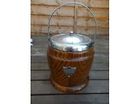 Vintage oak biscuit barrel