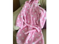 M &S girls fluffy pink dressing gown with white spots age 7-8
