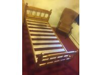 PINE SINGLE BED WITH UNUSED MATTRESS