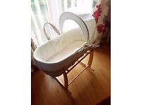 Cream moses basket with rocking stand