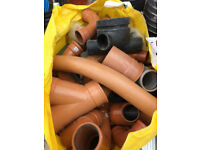 VARIOUS WASTE PLASTIC PIPES, CONNECTORS, ELBOWS ETC - HALF PRICE FROM WHAT WICKES SELLS THEM FOR