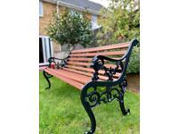 Vintage Lionhead cast iron garden patio bench