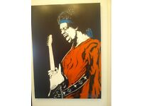 original art work acrylic on canvass of Jimmi Hendrix