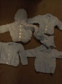 Baby boys blue hand knitted jackets