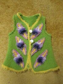 NEW Handmade felted wool vest gillet waistcoat 2-3-4 years Christmas gift