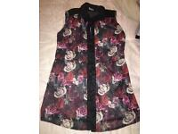 Beautiful Rose Print Blouse size 10