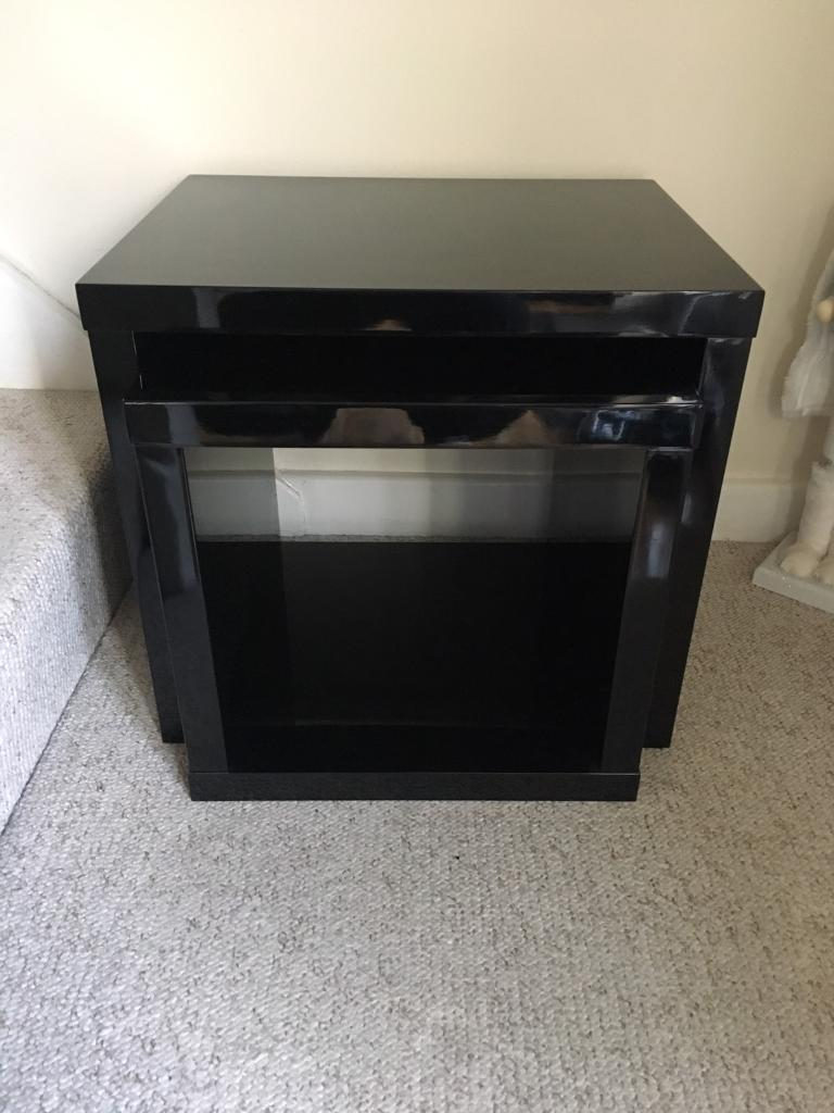Nest Of 2 High Gloss Black Coffee Tables