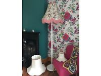 Floor lamp with spare lampshade and matching side lamp lampshade