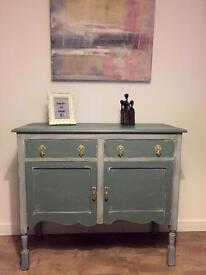 Unique fully refurbished retro cupboard, sideboard in chalk grey finish