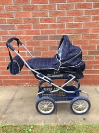SILVER CROSS DOLLS PRAM AND MATCHING CARRIER