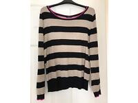 Ladies fawn and black striped jumper