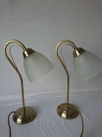 Pair of Brass Bedside Lamps