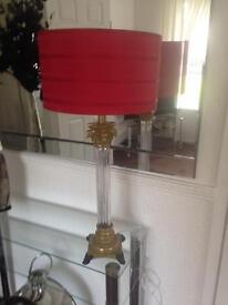 Beautiful tall glass ornate lamp and shade