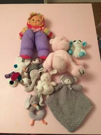 Assorted cuddly toys for babies