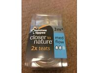 NEW Tommee Tippee Closer to Nature Medium Flow Teats x2