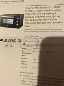 Mini Oven 30L Grill, Bake or Roast by VonShef. Space ,energy saving BNIB