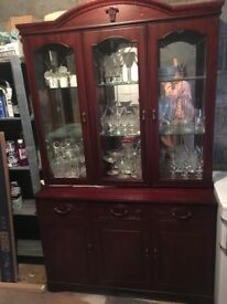 Large display cabinet, dark wood and glass