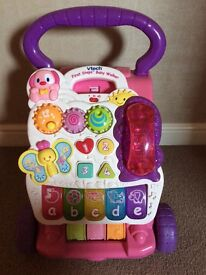 VTech First Steps Baby Walker - pink(£10) & Fisher Price Little People ride-On (£8) or both for £15