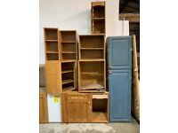 Kitchen Units Job Lot - Sheraton Pine Mainly Carcase Only, Few with Doors