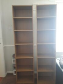 2x oak effect bookcases