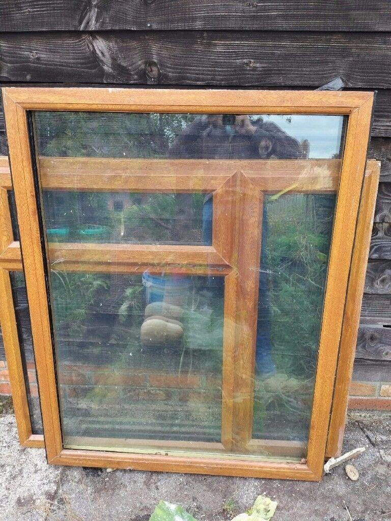 UPVC Window oak with white inside