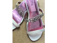 Cream and crystal leather sandal