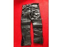 Men's Leather Biker Trousers