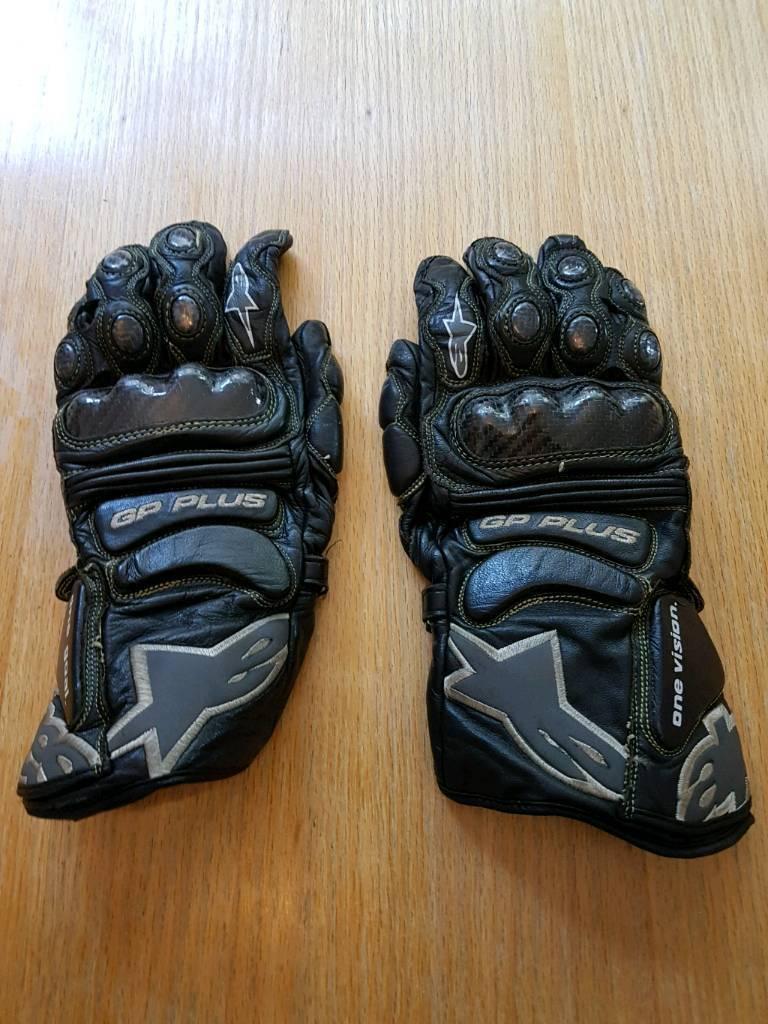 Alpinestars GP Plus black leather & carbon gloves