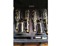 Set of LeBlanc B flat and A clarinets