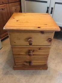 Solid pine bedside drawer
