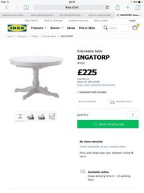 IKEA extendable dining table and 4 chairs INGATORP range