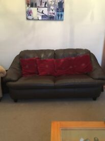 Brown leather two/three seater sofa