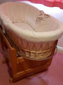 MOTHERCARE GLIDER WITH MOSES BASKET