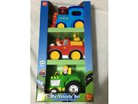 New in box, 3 large toy vehicles lights sounds, toddler toy