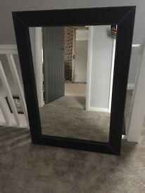 Large leather mirror white stitching original price £200