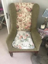 Classic beautifully re upholstered Georgian reading chair