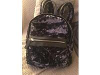 Topshop Velvet blue rucksack