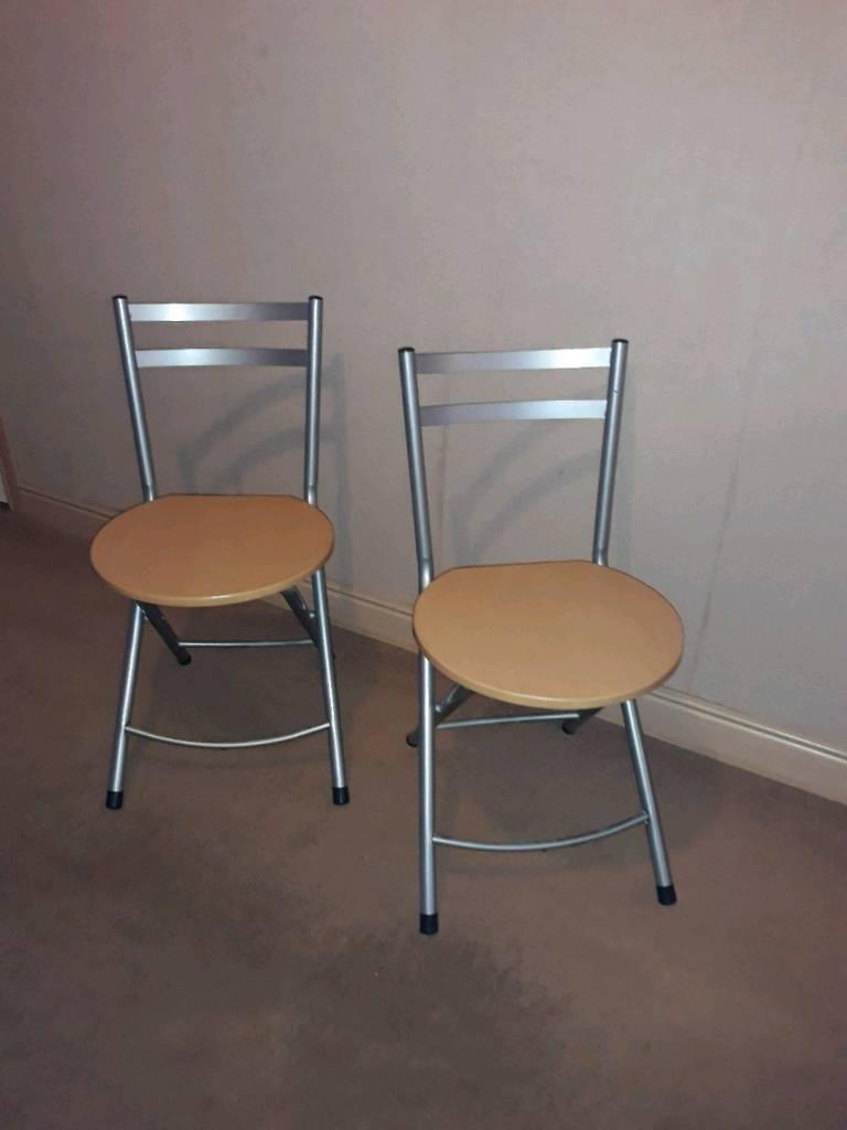 2 metal & wood folding chairs