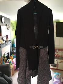 Long Black and Grey Cardigan - Lipsy - Size 14