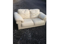 Ivory Leather 2-Seater Settee (Used Condition)