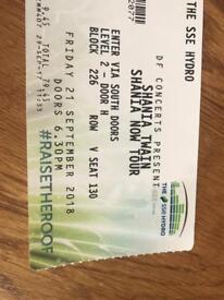 Shania Twain tickets,Glasgow hydro 2018,Christmas gift