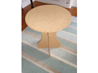 Round Chipboard Bedside Display Table - 50 cm diameter. 62 cm high