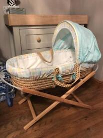 Mothercare classic pooh Moses basket with stand, bath & sleeping bag