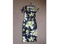 Size 12 Floral black and yellow midi bodycon dress