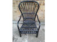 One black cane chair