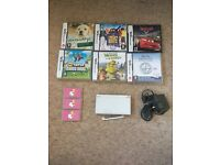 Nintendo DS Lite with charger and two stylus', games and game holders