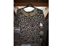 Black and white leopard look women's top