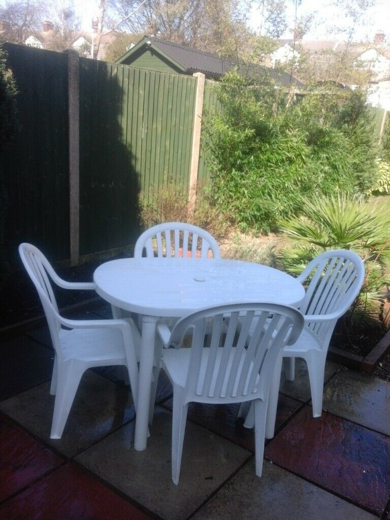 Patio furniture small white patio table outdoor furniture chairs folding patio set £30