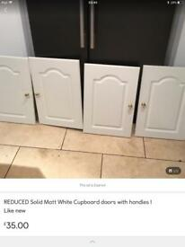 Matt White Cupboard doors like new BARGAIN