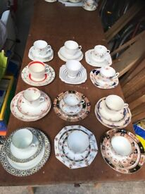 12 more Art Deco Trios Cups/Saucers/Plates - Some Handpainted & Hand Enamelled - £3 each or Less